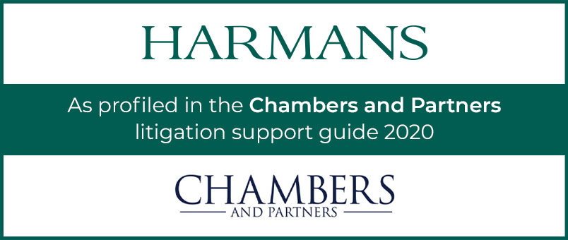 Harmans - As profiled in the Chambers and Partners litigation support guide 2020 - Chambers and Partners