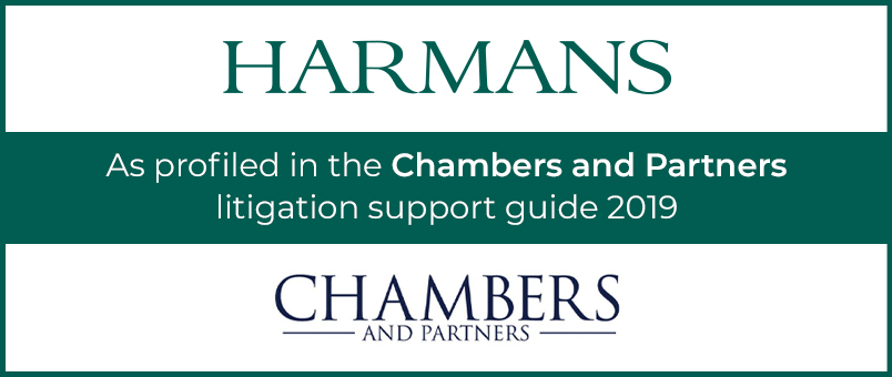Harmans - As profiled in the Chambers and Partners litigation support guide 2019 - Chambers and Partners