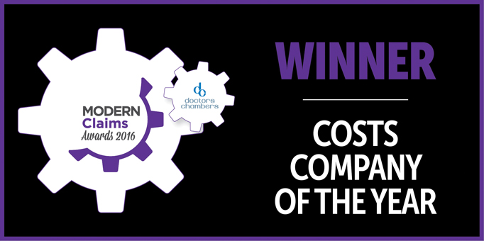 Modern Claims Awards 2016 - WINNER - COSTS COMPANY OF THE YEAR